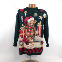 Ugly Christmas Sweater Vintage 1980s Teddy Bear Holiday Tacky Xmas Party Women's size S