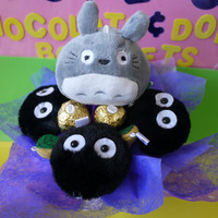 Totoro & Soot Spirit Dust Plush Flower Bouquet. Unique birthday/christmas gift