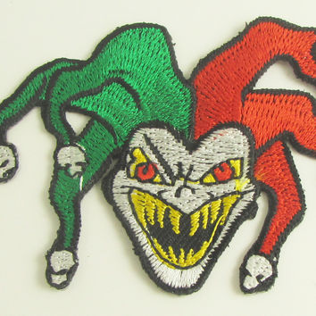 "Jester A Mean one Embroidered Iron-On 2"" x 2.5"""