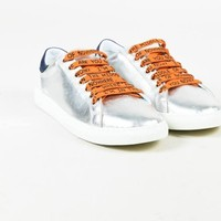 Mira Mikati NWT Metallic Silver Multicolor Leather Lace Up Monster Sneaker Sz 36