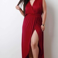 Surplice Slit Maxi Dress