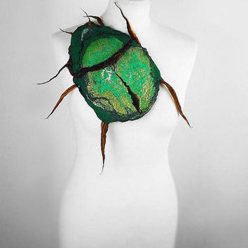 Felted Brooch  BEETLE bug felt nuno Art Deco nunofelt fairy brooch green jade folk boho wool Fairy