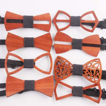 Fashion Western Special Wood Gentleman Bow Ties Handmade Butterfly Wedding Party Bow Ties Butterfly Wooden Unique Tie for Man