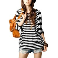 Allegra K All Over Stripes Dolman Sleeve Elastic Hem Loose Fit Blouse for Ladies