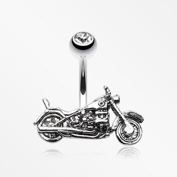 Biker Chopper Steel Belly Button Ring