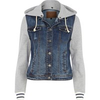 Blue jersey sleeve hooded denim jacket