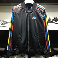 Adidas Womens Multicolor Three Stripe Sport Jacket