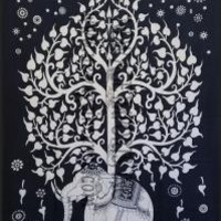 Black & White Tree of Life Tapestry