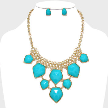 Turquoise Bib Statement Necklace  Earrings Mint Gold  Jewelry Boutique Lilly