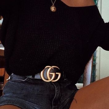 GUCCI 2018 men and women popular casual high quality belt F