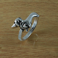 Dachshund Dog Sleek Sterling Silver Ring