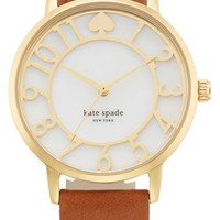 Women's kate spade new york 'metro' mother-of-pearl leather strap watch, 34mm - Brown/ Gold