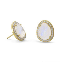 Sunlight Moonstone and Gray Diamond Earrings