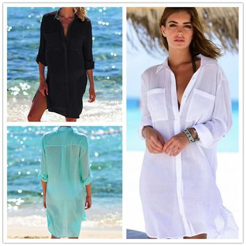 Kaftan Beach Wear Cover Up Out Of Dresses And Tunic Swimwear To Outings 2018 New Dress Cloth Shirt Pocket Outside Solid Acetate