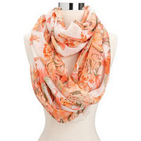 Neon Pop Color Floral Infinity Scarf: Charlotte Russe