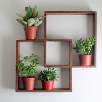 Vintage Mid Century Modern Wall Shelf, Geometric Wood Plant Shelves, Double Square or Diamonds