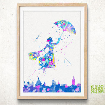 Mary Poppins - Watercolor, Art Print, Home Wall decor, Watercolor Print, Disney Characters Poster