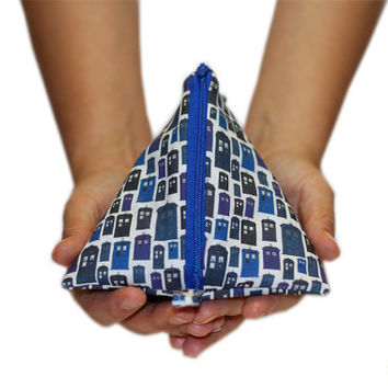 NEW Doctor Who Zipper Pouch | TARDIS Pyramid Zipper Bag | Change Purse | Makeup Organizer | Dice Bag | SewFlo Medium Pyramid