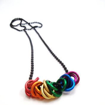 Rainbow Chainmail Mobius Ball Pride Necklace by SerenityInChains