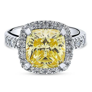 A Perfect 5.5CT Cushion Cut Canary Yellow Halo Russian Lab Diamond Engagement Ring