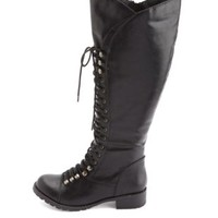 Soda Lace-Up Knee-High Combat Boots by Charlotte Russe - Black