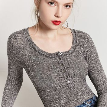 Heathered Henley Top