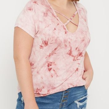 Plus Pink Tie Dye Cross Strap Tee | Plus Short Sleeve | rue21