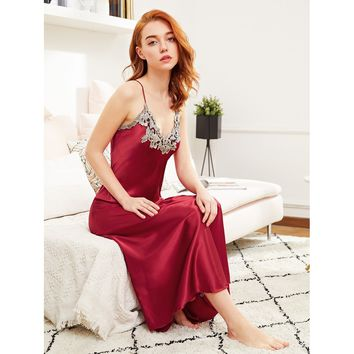 Contrast Crochet Trim Satin Cami Dress