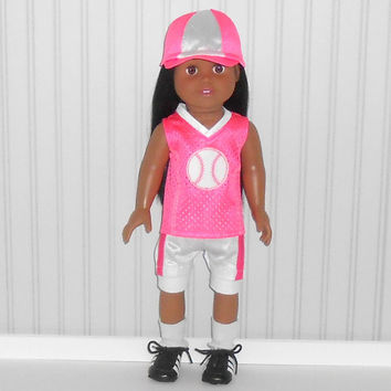 American Girl Doll Clothes Hot Pink and White Softball Uniform with Hat and Knee Pads and Optional Cleats