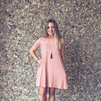 Blush lace accented Women's Short Sleeve Dress