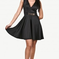 Black Skater Dress with Gold Chain Trim