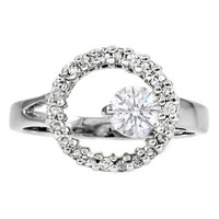 European Engagement Ring - 0.47 Carat Round Diamond Halo Promise Ring Like Miley Cyrus - ER47