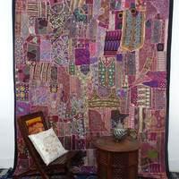 Vintage Sari Patchwork Tapestry , Huge Indian Patchwork WallHanging , Big Sari Patchwork Curtain