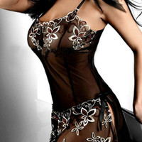Best Deal Women Black Vintage Lace Printed Sexy Cute Lingerie Corset Pajamas Underwear nightgown Plus Size M-4XL 1PC