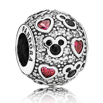 Mickey Mouse ''Sparkling Mickey & Hearts'' Charm by PANDORA | Disney Store