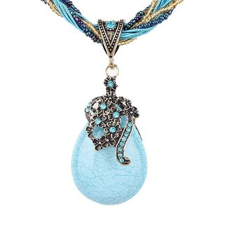 Natural Stone Beads Water Drop  Pendants Necklaces