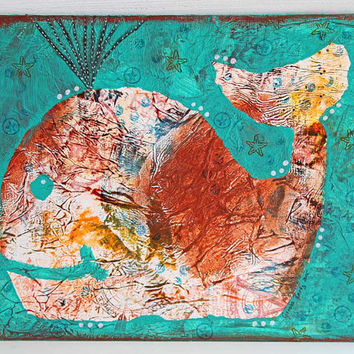 "Whale Mixed Media Painting, Turquoise Nursery Art, Children's Room Decor, Original Artwork on 9"" x 12"" Canvas Board, Acrylic Painting"