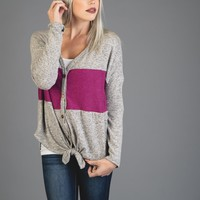 Heather Gray and Orchid Colorblock Self Tie Top