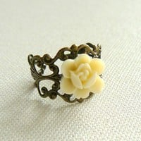 Free shipping IVORY rose victorian filigree flower by OTJEWELS