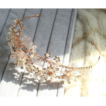 Golden Floral Bridal Headpieces Crystal Rhinestone Pearls Wedding Tiara Headband