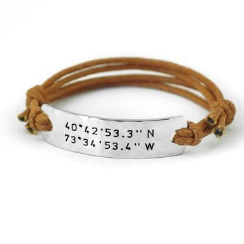 Coordinates Bracelet,Custom Bar Bracelet, Latitude Longitude Bracelet for Girlfriend or Boyfriend,Valentine's Gift