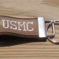 Embroidered USMC Mini Military Key Fob, MultiCamouflage Mini Military Key Fob, Embroidered Mini USMC fob, Tan Embroidery