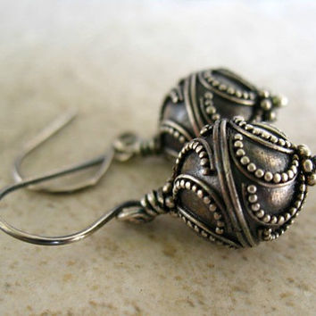 Sterling Silver Earrings, Bali Round Dangle Earrings, Oxidized Silver Jewelry