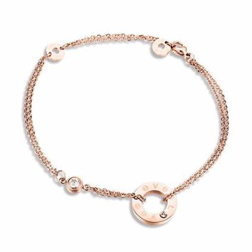 ac spbest New Designer Fashion Two Layers Foot Chain Anklet Bracelets for Women Love Cubic Zirconia Rose Gold color Dangles Ankle Bracelet