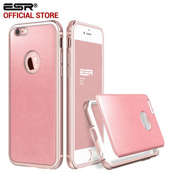 ESR Hybrid case Aluminum Metal Frame PU Leather Colorful Back Cover Bumper for iPhone 6/6s