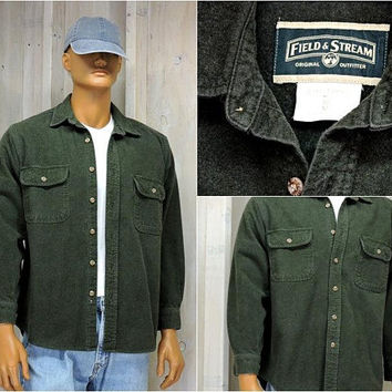 Vintage Field and Stream / heavy cotton shirt / size M / 80s mens green flannel shirt / hunting / fishing / rugged outdoor wear