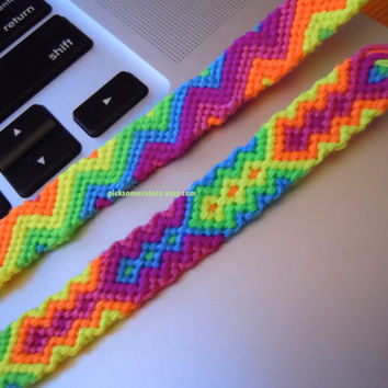 Neon Zig Zag Friendship Bracelet - Ready to Ship