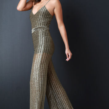 Metallic Semi-Sheer Ribbed Knit Jumpsuit