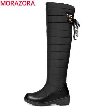 MORAZORA Plus size 35-44 winter russia keep warm women snow boots thick fur fashion platform down winter over the knee boots