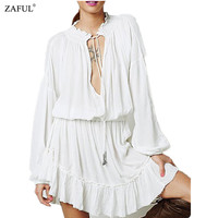 ZAFUL 2016 Women Summer Dress V Neck Lantern Sleeve Elastic Waist Ruffles Hem Bohimian Dresses Hippie Short Beach Dress Vestidos